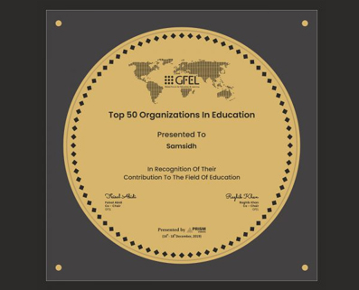 AWARDED AS TOP 50 ORGANISATIONS IN EDUCATION BY GFEL