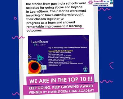TOP 10 KEEP GOING! KEEP GROWING AWARD WINNER BY LEARNSTORM KHAN ACADEMY