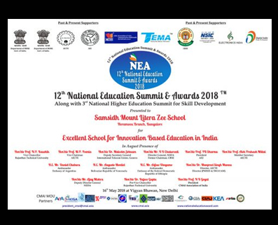 Award for Excellent School for Innovation Based Education in India - Horamavu