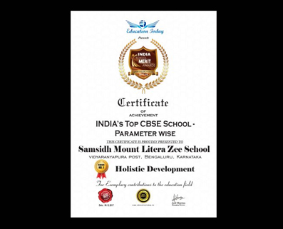"""EDUCATION TODAY AWARD FOR THE BEST """"HOLISTIC DEVELOPMENT"""" SCHOOL"""