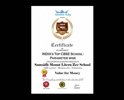 """EDUCATION TODAY AWARD FOR THE BEST """"VALUE FOR MONEY"""" SCHOOL"""